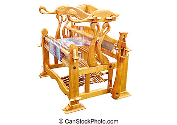 loom - vintage wooden loom isolated on white