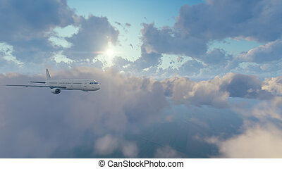 Passenger airliner in sunny sky with clouds