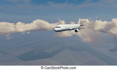 Passenger airliner high in the cloudy sky - Passenger...