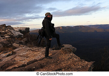 Man looks at the landscape from Lincoln Rock Lookout at...
