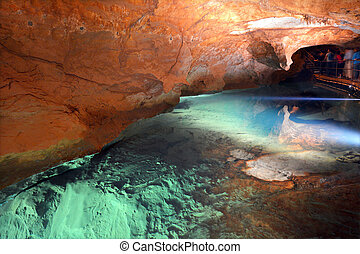 River Cave in Jenolan Caves Blue Mountains New South Wales...
