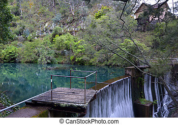 A dam on the Blue Lake in Blue Mountains in New South Wales,...