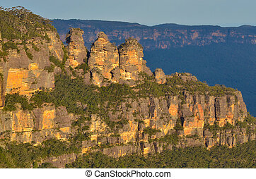 Landscape of The Three Sisters rock formation in the Blue...