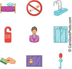 Hostel accommodation icons set, cartoon style - Hostel...