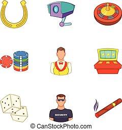 Win icons set, cartoon style - Win icons set. Cartoon...