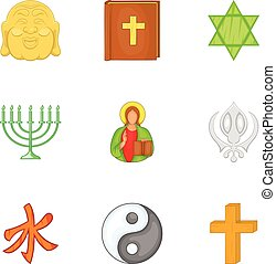 Religious faith icons set, cartoon style - Religious faith...