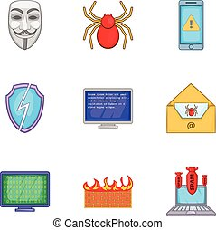 Virus icons set, cartoon style