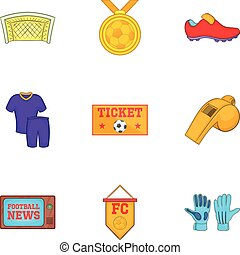 Sport icons set, cartoon style