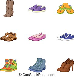 Foot care icons set, cartoon style - Foot care icons set....