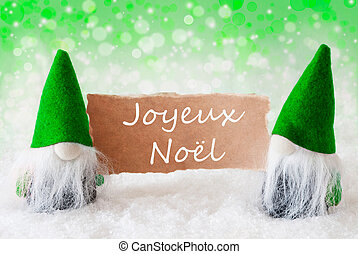 Green Natural Gnomes With Card, Joyeux Noel Means Merry...