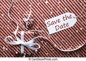 Gifts With Label, Snowflakes, English Text Save The Date -...