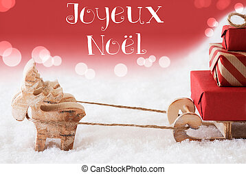 Reindeer With Sled, Red Background, Joyeux Noel Means Merry...
