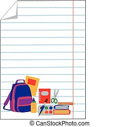 notebook paper with school accessories