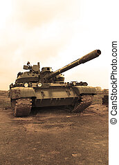 Army tank in the rainy weather - Army tank in the cloudy and...