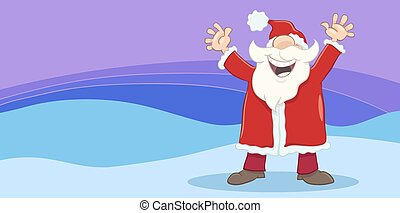 greeting card with happy santa