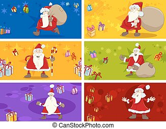 christmas greeting cards set - Cartoon Illustration of...