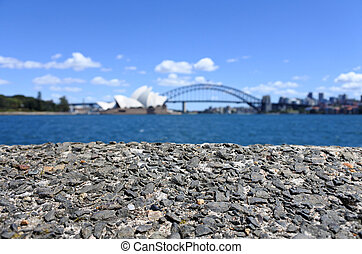 Background of Sydney skyline with the Opera House and Sydney...