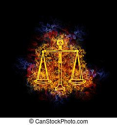 Fiery libra zodiac sign. - Libra zodiac sign, covered in...