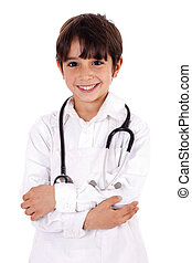 Young kid dressed as doctor - Little boy doctor isolated...