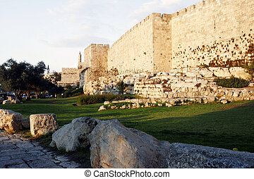 Jerusalem Old City Walls with Davids Tower at sunset