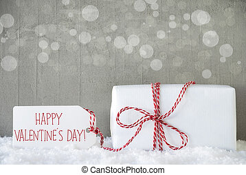 Gift, Cement Background With Bokeh, Text Happy Valentines Day