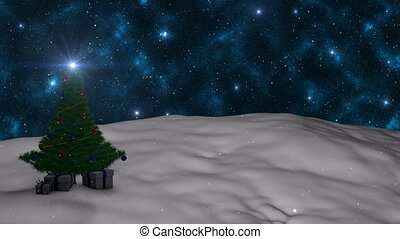 Christmas tree in the snow on a background of sky with...