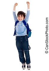 School boy raising his arms in joy - School boy with raised...