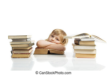 girl with stack of books
