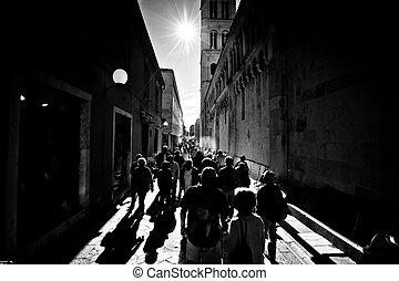 Kalelarga street of Zadar black and white - Kalelarga main...