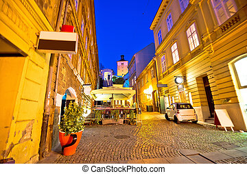 Zagreb funicular and landmarks evening view, capital of...