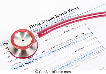 Drug test blank form with stethoscope.