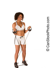 Ethnic woman exercising with Resistance Band - Dark skinned...