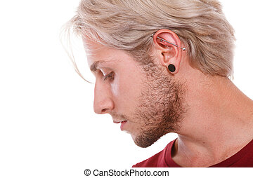 Teen boy with piercing and fashionable hairstyle - Stylish...