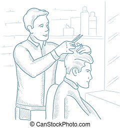 Barber making haircut to young man. - Barber cutting hair of...