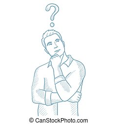 Businessman with question mark above his head.