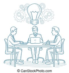 Business team working on new business idea.