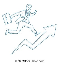Businessman running on growth graph.
