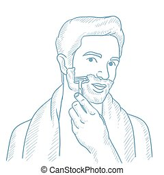 Man shaving his face vector sketch illustration. - Man...