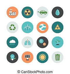 402.environment flat icon.eps - set of environment icon...