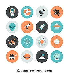 astronomy flat icon - set of astronomy flat icon, flat...