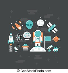 astronomy - set of astronomy flat icon, flat style, isolated...