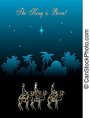 Christmas illustration: three Wise Men are visiting the new...