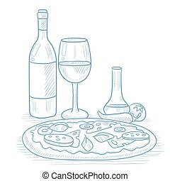 Dinner with wine and pizza. - Pizza with bottle of wine and...
