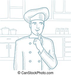Chef pointing forefinger up vector illustration. - Caucasian...