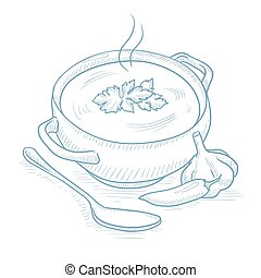 Pot of hot soup. Pot of hot soup with pepper, garlic, herbs...