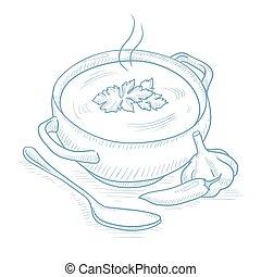 pote, sopa, quentes