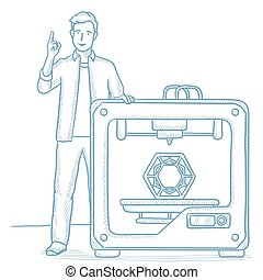 Man with three D printer vector illustration. - Young man...