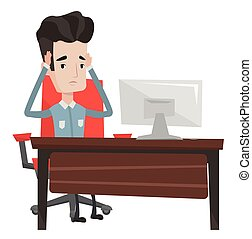 Stressful employee sitting at workplace. - Stressed office...