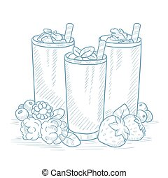 Fresh berries smoothies. - Various fresh berries smoothies...