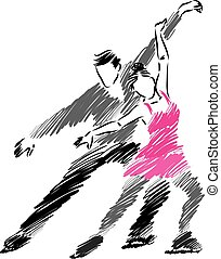 COUPLE MAN AND WOMAN ICE SKATERS ILLUSTRATION